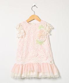 Vestido Kids Em Renda Rosa Bebê e Creme
