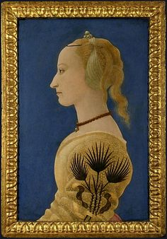 Alesso Baldovinetti, Portrait of a Lady in Yellow, c. 1465, Tempera on Panel, 62.9cm x 40.6cm. The National Gallery, London