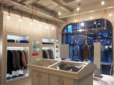 Private White VC shop in Mayfair makes use of copper for their lighting.