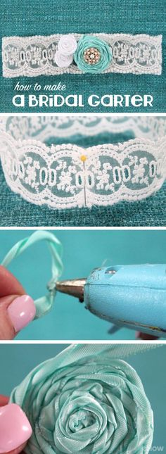 """Something old, something new, something borrowed, something blue."" Bring good luck on the brides wedding day with  this blue garter that you can make with old or new lace and borrowed beads or jewels! Grab the how-to with pictures for each step here: http://www.ehow.com/how_4856976_make-bridal-garter.html?utm_source=pinterest.com&utm_medium=referral&utm_content=inline&utm_campaign=fanpage"