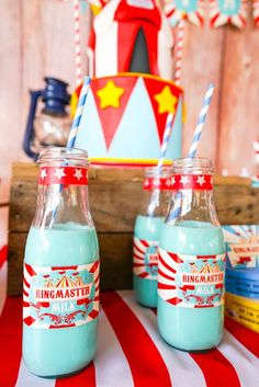 Loving the drinks at this Backyard carnival Christmas/Holiday Party!! See more party ideas and share yours at CatchMyParty.com #drinks #carnival