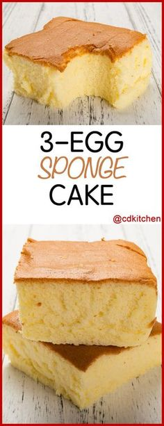 3 Egg Sponge Cake - Recipe is made with milk, baking soda, eggs, flour, cream of tartar, butter, sugar, salt | CDKitchen.com