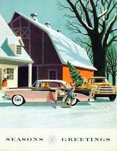 Vintage Christmas Card. Season's Greetings. 1950's Christmas Card.