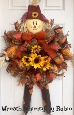 This adorable scarecrow burlap mesh wreath with shades of orange and brown will delight visitors to your home this fall! This wreath is constructed with a natural burlap mesh adorned with orange sequins so reminiscent of everything fall. A scarecrow head, arms and legs highlight the full body of the wreath which is adorned with 34 colorful ribbon streamers. A bountiful bouquet of fall flowers is the colorful main attraction. Finishing off the look is a large burnt orange bow. The body of…