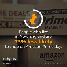What up New England?? Don't you know there's wicked good deals on Amazon? People who live in New England are 73% less likely to shop on Amazon Prime day.