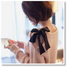 Pink bow side shoulder sweater DIY