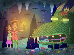 New cartoon 'Cave monster' # #cartoon #illustration #art #arte #draw #nawden #artfido #artsanity #drawing #colour