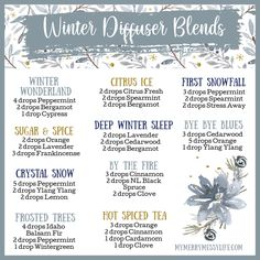 Make your home smell warm and cozy while it's cold outside with these winter diffuser recipes using essential oils! These blends don't just smell good, though, they will also support your health and wellness. Essential Oils Guide, Essential Oil Uses, Doterra Essential Oils, Young Living Essential Oils, Yl Oils, Mixing Essential Oils, Wintergreen Essential Oil, Doterra Blends, Doterra Oil