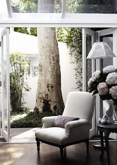 french garden doors with accent chair #white #pink #soft