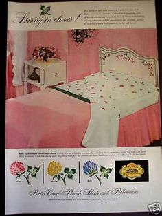 Vintage Furniture Ads of the Vintage Sheets, Vintage Ads, Vintage Decor, Vintage Homes, Retro Ads, Vintage Pink, 1950s Bedroom, Bedroom Vintage, Furniture Ads