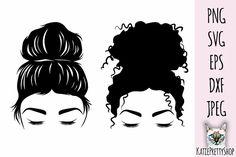 Messy Bun Curly Hair, Curly Hair Styles, Mom Hairstyles, High Bun, Cricut Tutorials, Logo Background, Silhouette Vector, Custom Decals, Vinyl Projects