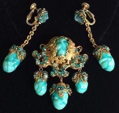 Exquisite Vintage Miriam Haskell Dangle Brooch & Drop Earrings Set~Teal Blue Art…