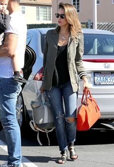 Jessica Alba wearing 7 For All Mankind Slim Cigarette Jeans in Destroyed Rue De Lille