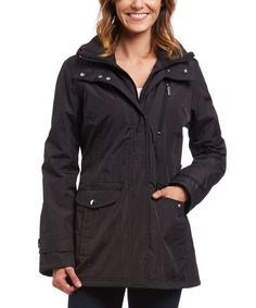 Look at this INTL d.e.t.a.i.l.s. Black Hooded Anorak on #zulily today!
