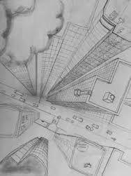 perspectief stad tekenen - Google zoeken Perspective Drawing Lessons, Perspective Sketch, Architecture Drawing Sketchbooks, Architecture Concept Drawings, A Level Art Sketchbook, City Drawing, Background Drawing, Landscape Drawings, Environmental Art