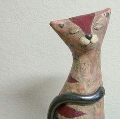 "Ceramic Cat Sculpture 27cm x 9cm x 12.5cm ......10.6"" x 3.5"" x 4.8""   от TikaCeramics на Etsy"