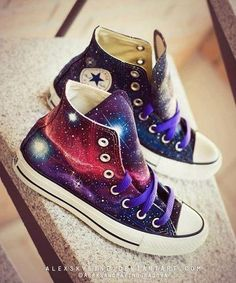 Galaxy Converse womens customiseable Sneakers. For any Space Cadets out there ;).... I want these!!!