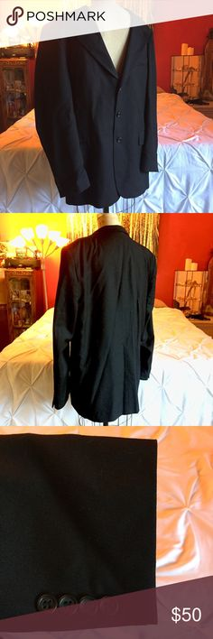 Black Men's Blazer. Button-up Jacket. Italian. Size 42, L black men's blazer. Made out of pure wool, this jacket makes a classy addition to any man's wardrobe. The piece is made with Italian fabric and is light weight enough for warm weather while still serving as an excellent wind breaker during cooler seasons. Suits & Blazers Sport Coats & Blazers