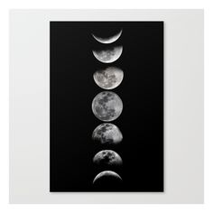 Phases of the Moon Canvas Print (58.690 CLP) ❤ liked on Polyvore featuring home, home decor, wall art, moon wall art and moon home decor