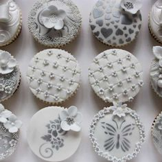 Quilting, stencils, gum pate, and wedding pearls Silver Cupcakes, Fancy Cupcakes, Pretty Cupcakes, Beautiful Cupcakes, Wedding Cakes With Cupcakes, Deco Cupcake, Cupcake Art, Cupcake Cookies, Cupcake Toppers