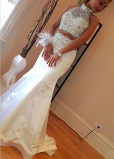 Silver Beaded Prom Dresses,Beading Prom Dress,White Prom Gown,2