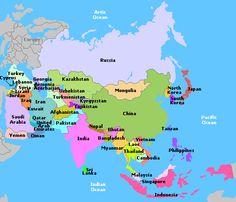 Delightful Map Of Asia Continent