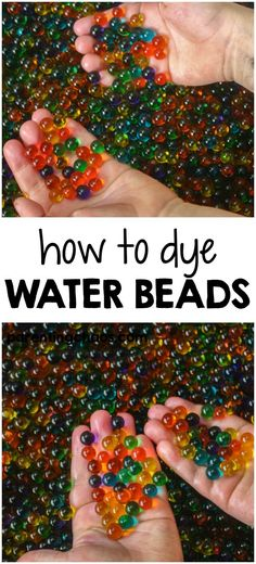 Dyeing water beads is an extremely easy way to save money and clear water beads can be found at any store that sells floral supplies.