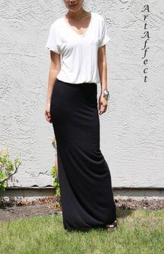 V Neck Side Slit Maxi Dress Cream and Black by artaffect Side Slit Maxi Dress, Dress Up, My Wardrobe, Casual Chic, Fitness Fashion, Fashion Dresses, Classy, V Neck, Travel Fashion