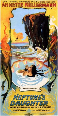"""""""Neptune's Daughter"""" (1914) directed by Herbert Brenon  Those pre-psychedelic colors!"""