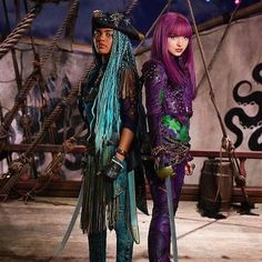 """Dove Cameron as Mal the daughter of Maleficent and China Anne MicClain as Uma the daughter of Ursula ! In Descendants 2 """"We Ride With The Tide"""""""