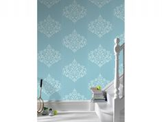 Ocean Blue Damask Wallpaper