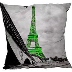 Almofada Paris Torre Verde Poliéster (42x42cm) - Uniart