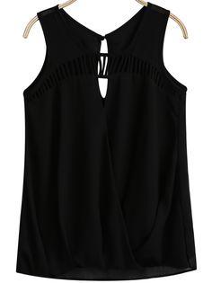 Black Sleeveless Hollow Chiffon Vest - Sheinside.com
