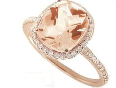 Meira T 14K Rose Gold & Diamonds - Cushion Cut Pink Morganite Center Stone - Right Hand Ring #jewelry #gold #morganite #cushion #ring #amazon themarriedapp.com hearted <3