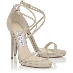 Sand Shimmer Suede Sandals (2.430 BRL) ❤ liked on Polyvore featuring shoes, sandals, suede shoes, suede leather shoes, sand shoes, sand suede shoes and suede sandals