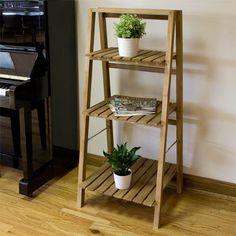 Teak Leaning Plant Stand - Outdoor