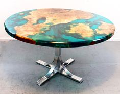 Walnut end table at with turquoise resin! This table is sold but I have plenty more walnut to build one for you with your dimensions! Blue Dining Tables, Walnut Dining Table, Dinning Table, Live Edge Furniture, Resin Furniture, Wood Resin Table, Wood Table, Art Resin, Home Furniture