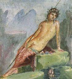 Narcissus, fresco, Pompei