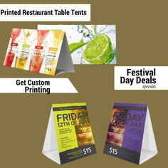 Printed Table Tents - 5 Tips to Get Enhanced Business Table Tents, Restaurant Tables, Quality Printing, Free Design, How To Get, Printed, Business, Day, Tips