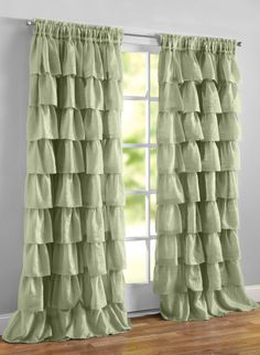 Ruffled Layered Curtains - Color: Sage