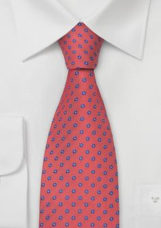 Coral Red Designer Tie With Blue Flowers - A perfect tie for the sunny day! This coral-red color on this tie will instantly add a trendy but nevertheless classy look to any sh Coral Tie, Coral Color, Red Color, Structure Clothing, Groom And Groomsmen Looks, Groomsmen Accessories, Kids Ties, Designer Ties, Elegant Man