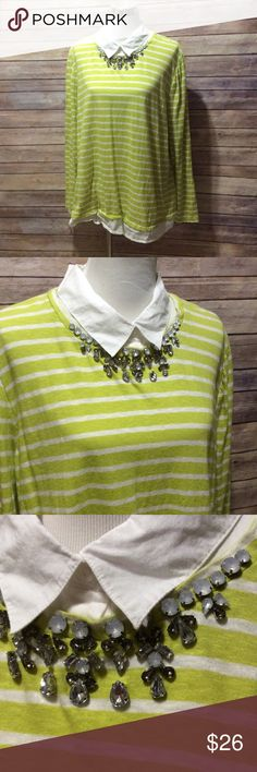 Plus bling neckline blouse Size 3x. Lime green and white stripe blouse. Bling rhinestone at neckline like a necklace. Zips and has eye hook in back. crown & ivy Tops