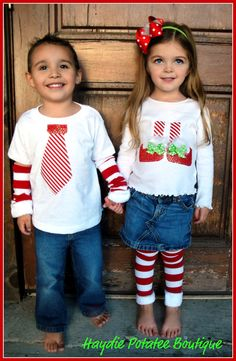 cute brother sister Christmas shirts @Shannon Bellanca Reep Jackson for your tiny boy!!! So cute