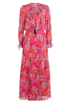 Etro - Printed Cotton Dress with Embellished Tassels