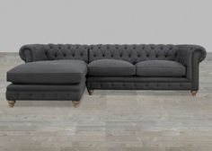 Grey Linen Chaise Sectional Button Tufted With Nailheads #SilverCoastCompany
