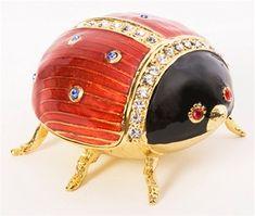 Ladybut jeweled trinket box