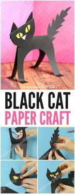 Black Cat Simple Paper Craft for Kids. Fun Halloween Craft for Kids too. Black Cat Simple Paper Craft for Kids. Fun Halloween Craft for Kids too. Halloween Cat Crafts, Theme Halloween, Halloween Tags, Halloween Activities, Easy Halloween, Fall Crafts For Kids, Projects For Kids, Craft Kids, Crafty Projects
