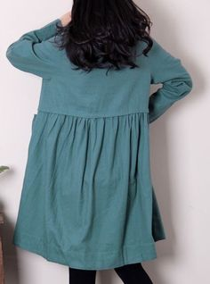 Linen pleated babydoll long sleeved dress/ Green beans by MaLieb
