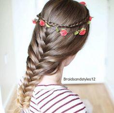 loose french fishtail & a cute crown braid