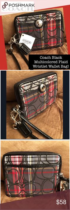 """Coach Black Multicolored Plaid Wristlet Wallet Bag Coach Black Multicolored Plaid Wristlet Wallet Bag! 100% authentic, Coach black, gray & red plaid design accented with glittery design, wallet / wristlet, dog leash hook, red satin lining, black patent leather trim & strap, silver tone hardware, top zipper closure & Coach hang tag. Measures 5 1/4"""" across x 4"""" high x 1/2"""" wide with 6"""" hand / wrist clearance. New condition w/ tag! Ret:$98. Offers welcomed! Coach Bags Clutches & Wristlets"""
